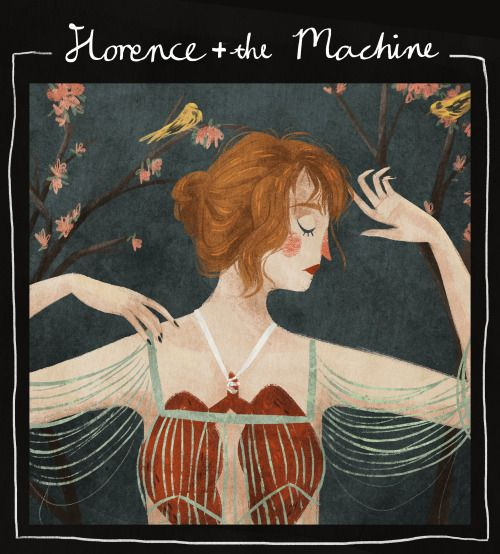 Painting study of Florence + The Machine's album cover for Lungs.