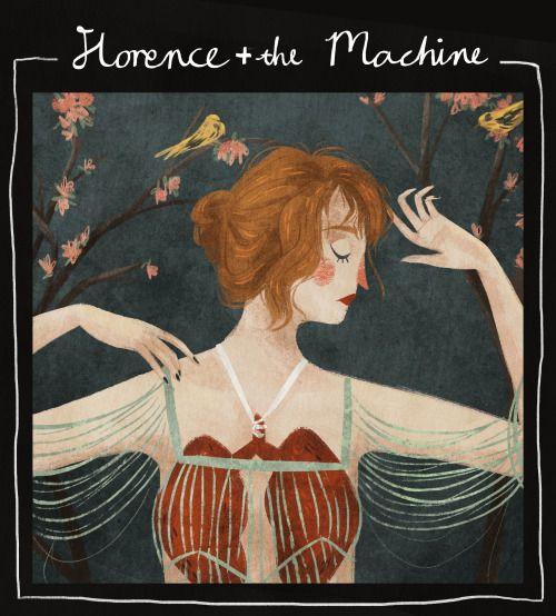 Открытка, иллюстрация. Девушка, человек, лёгкие, анатомия. Музыка. Инди-поп. Painting study of Florence + The Machine's album cover.