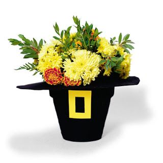 Thanksgiving Pilgrim hat flower pot centerpiece craft