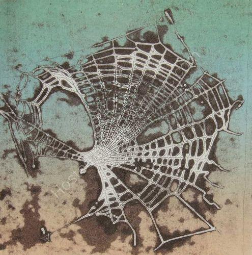 Artist: Emily Harvey. Title: Cobweb 2. Description: Collagraph print 20.5cm x 20.5cm  edition of 4.