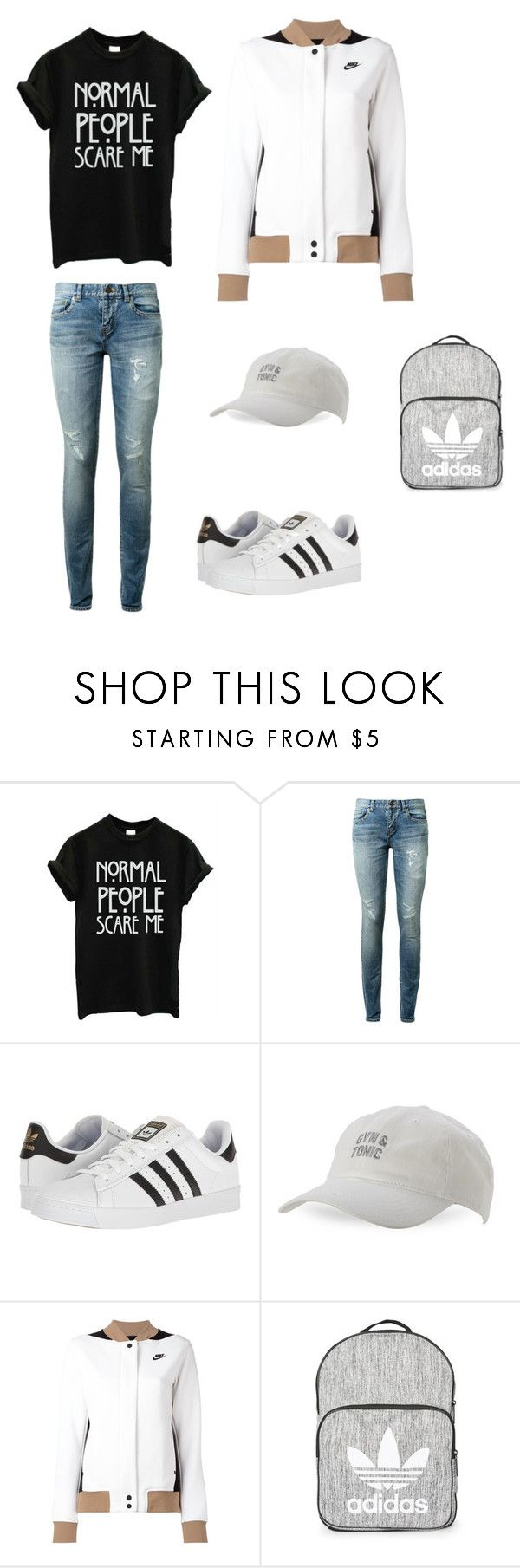 """""""Casual 2"""" by gabrielle-acasio on Polyvore featuring Yves Saint Laurent, adidas, Body Rags, NIKE and Topshop"""