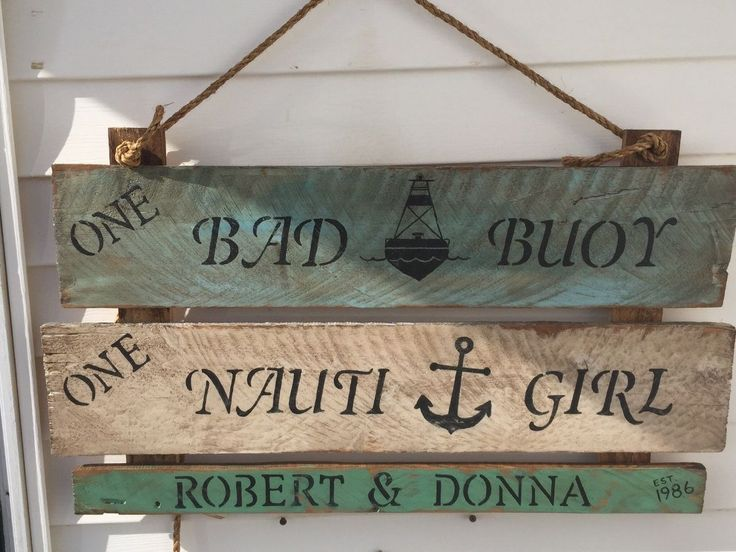 Few sraps of cedar from the pile and your on your way! Grab three boards, painted nautical blue, antique white and seafoam green. [media_id:3…