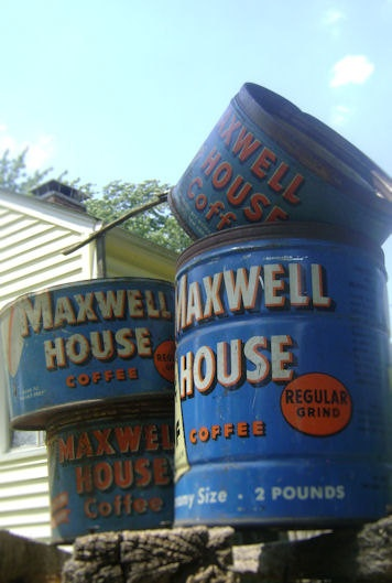 Vintage Maxwell House Coffee Cans. $20.00, via Etsy.