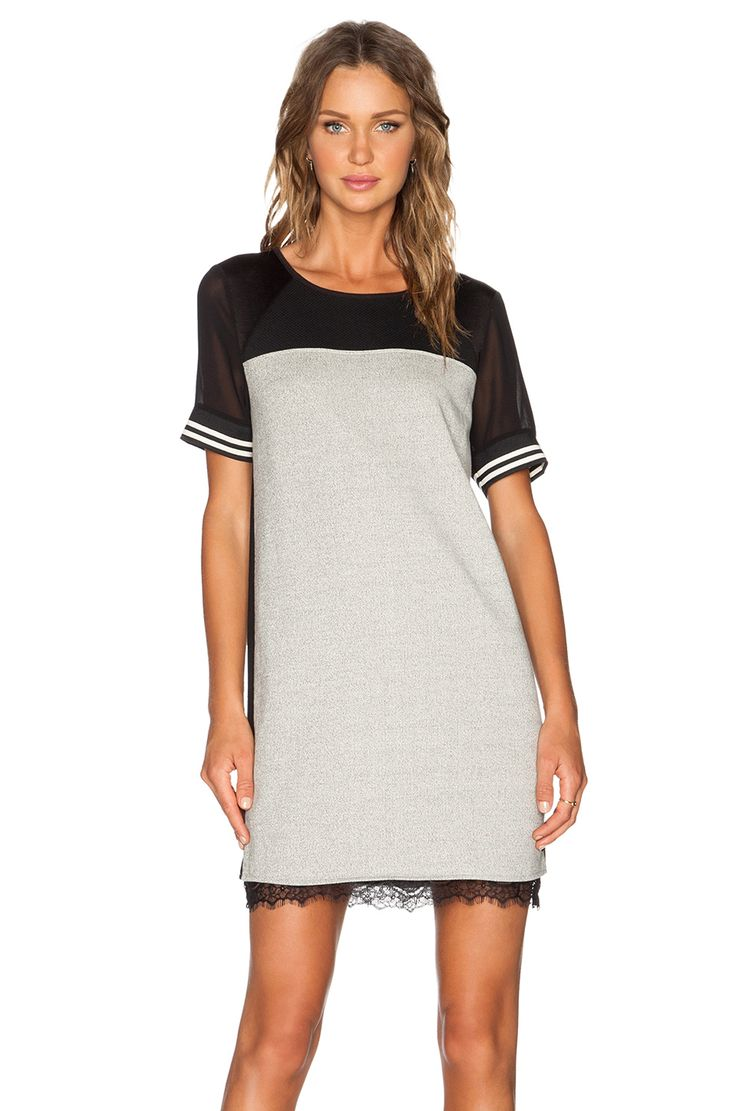 Maison Scotch Baseball Dress in Black & Light Grey