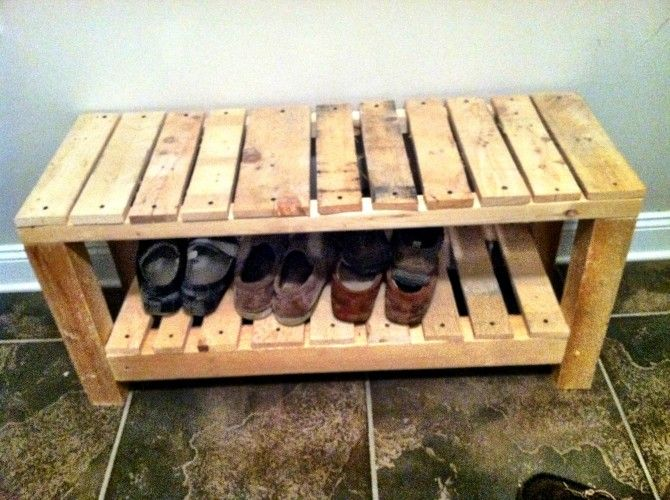 Pallet shoe bench something like this but painted white for White painted pallets