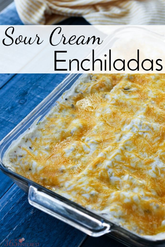 Creamy and delicious, these sour cream enchiladas are a family favorite. The flavors are mild and kid-friendly and they make great leftovers!