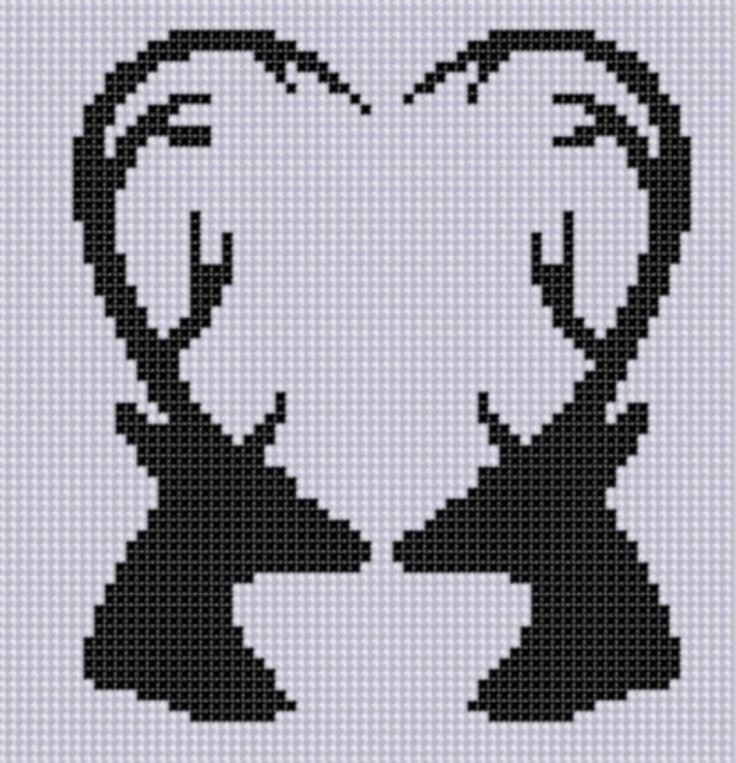 Deer Heart Cross Stitch Pattern