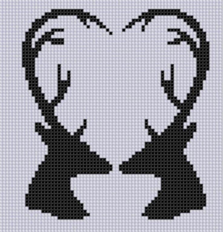 Deer Heart Cross Stitch Pattern