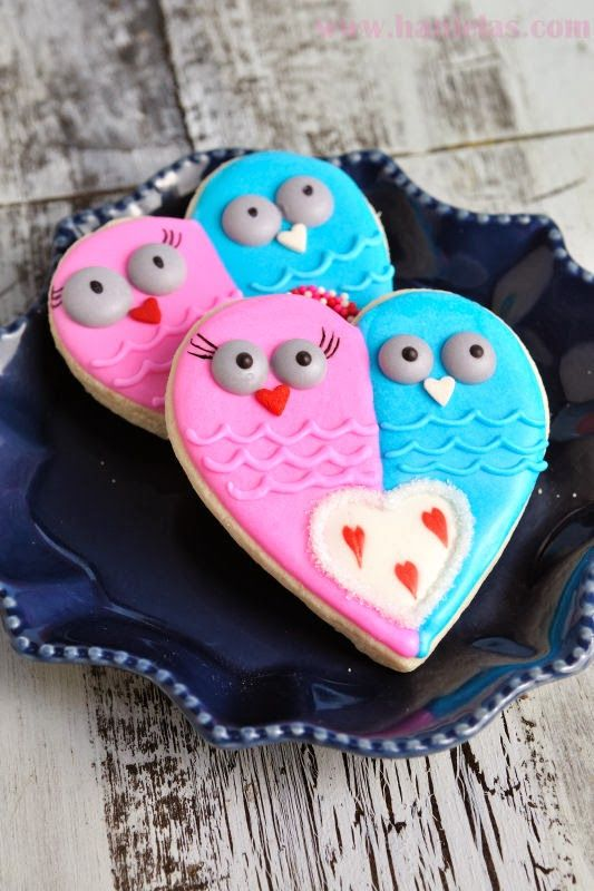 "Haniela's: Valentine's Day ""I Heart You"" Owl Cookies"