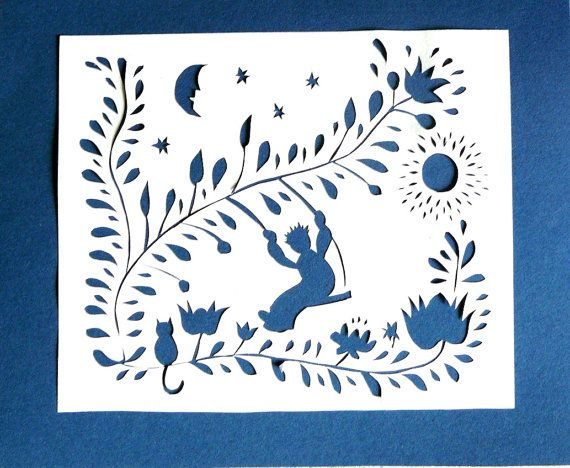 Little Prince Papercut. Price goes to charity by PaperartByAnni