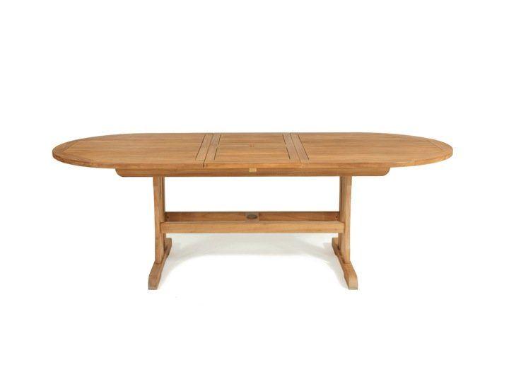 Der Geneva Teak Gartentisch oval mit den Abmessungen B 180 x T 100 x H 75 cm ist ausziehbar auf 230 cm (mit einem innenliegenden, fest integrierten Verlängerungsteil). Dieser Ausziehtisch bietet im ausgezogenen Zustand Platz für 12 - 14...