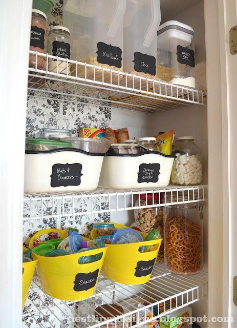 Organization using dollar store items and diy chalkboard labels