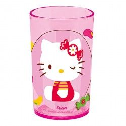 Kinder Trinkglas  Hello Kitty  Melamin, 200ml , Ø 6,5cm, rosa