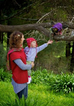The creator of Gozob's and her daughter in the garden with the elves.