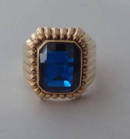 18K Solid Gold Sapphire Signet Ring Best Price Final Discount | eBay