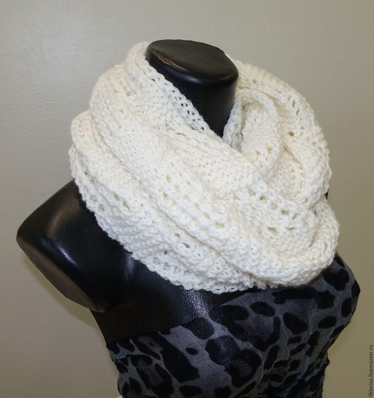 Купить шарф-снуд ажурный - белый, шарф женский, снуд вязаный, снуд женский