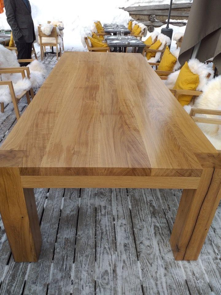 Grande Table En Chene Massif Pieds Poutre Exterieure Montagne Hotel Bar Restaurant Luxe Table Bois Massif Table En Chene Table Chene Massif
