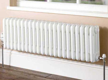 Plain white column radiator 4 columns 302mm high - Column radiators The Victorian Emporium