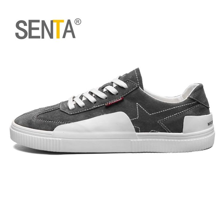 SENTA New Men's Skateboarding Shoes Elastic Good Quality Leather Stitching Colleger Outdoor Breathable sports Street Sneaker  #Affiliate