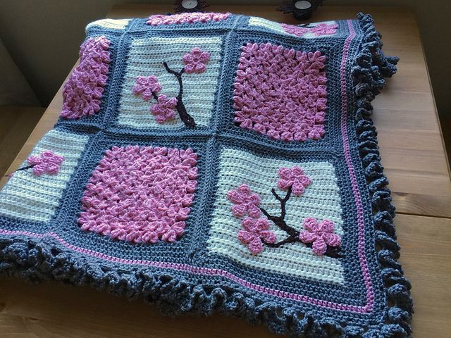 Sarahloueees Cherry Blossom Blanket Free Pattern ᛡ