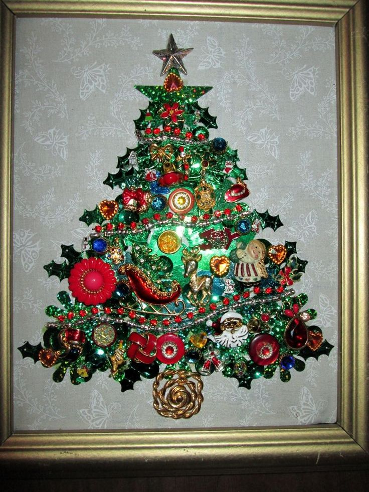 Framed Costume Jewelry Christmas Tree Rhinestones Charms Earrings Brooch 10x12