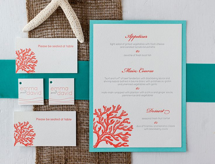 Beach-Inspired Destination Wedding Invitations by Inkprint Letterpress via Oh So Beautiful Paper (2)