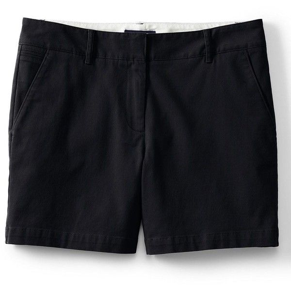 Lands' End Women's Petite Not-Too-Low Rise 5 Chino Shorts ($39) ❤ liked on Polyvore featuring shorts, black, lands' end, chino shorts, lands end shorts, low rise shorts and summer shorts