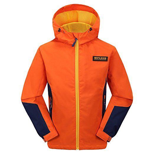 MFLEER Softshellsjacke Jungen Mädchen Wasserdicht + Winddicht + UV-Schutz + Aktmungsaktiv Regenjacke Kinder Jacket mit Kapuze Funktionsjacke Orange 150