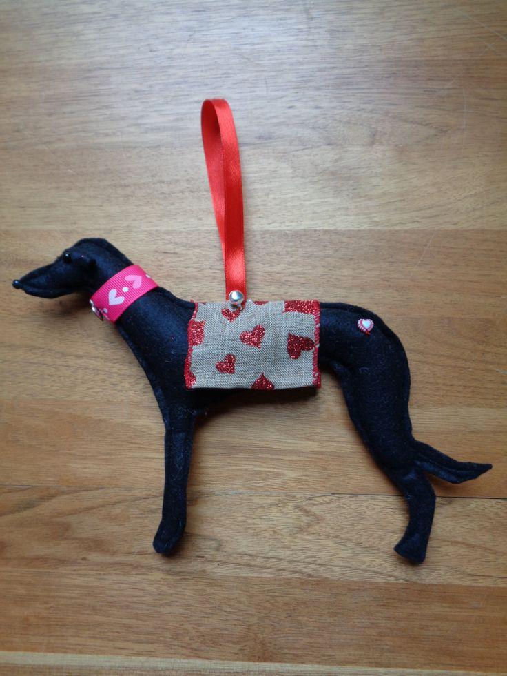 Hand made black felt Greyhound, Whippet, Lurcher type dog hanging decoration by CraftyBunnyDog on Etsy