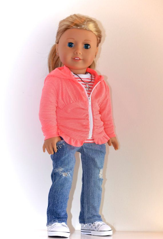 18 inch, American Girl Doll Clothing. Active Wear Ensemble. Jeans, Ruched Hoodie, Knit top and Necklace.