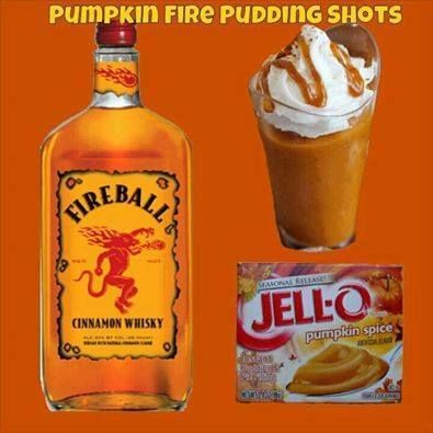 ADULT YUMMIES! Pumpkin Fire Pudding Shots  Ingredients: Sm Pumpkin Spice Instant Pudding ¾ c Whole Milk ¾ c Fireball Whiskey 8oz Cool Whip (Extra Creamy preferred but not required)  Directions: Whisk Whole Milk & Instant Pudding together until as thick as it will get (1-2 minutes). Once it has thickened, add Liquor and whisk until all lumps and clumps are gone. Once the mixture is nice and smooth again, whisk in Cool Whip. Fill almost ¾ of a 1oz plastic shot cup with the mixture then cover…