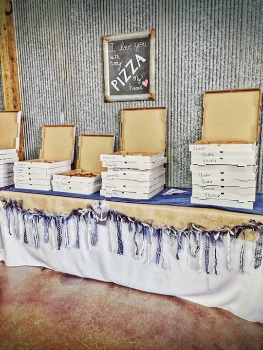 "Wedding catered pizza ""I love you with every pizza my heart"""