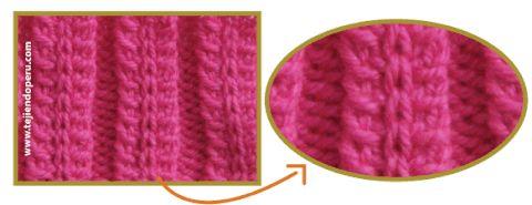 точка Колос эластичной ткани в две иглы или зубочистки