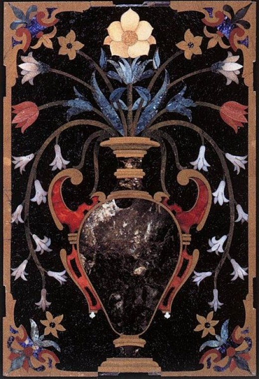 This hard stone inlay mosaic of a Vase of Flowers by an unknown artist is currently in the Museo dell'Opificio delle Pietre Dure, in Florence, Italy. Mosaic by Unknown Artist.