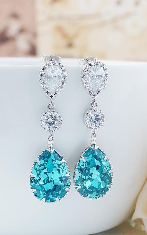 Light Turquoise Bridal Earrings from EarringsNation Turquoise Wedding Tiffany Blue Wedding
