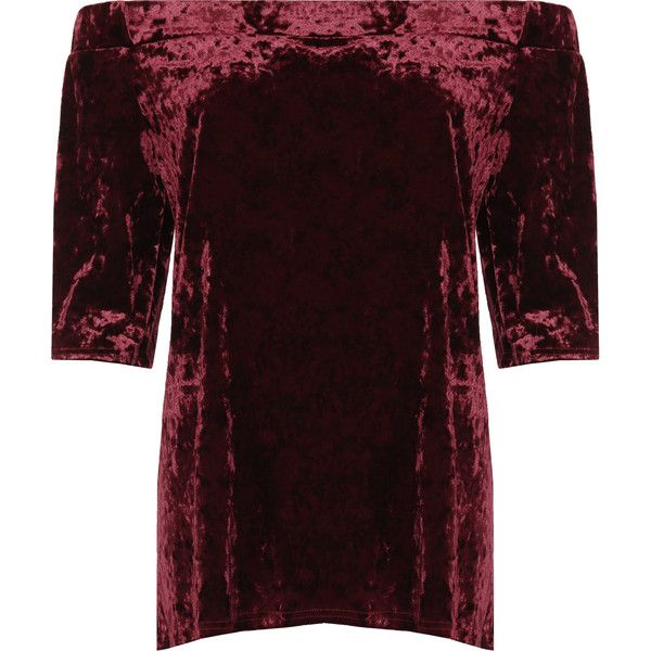 WearAll Plus Size Crushed Velvet Bardot Top (€26) ❤ liked on Polyvore featuring tops, wine, red top, red off the shoulder top, off the shoulder tops, womens plus size tops and plus size off shoulder tops