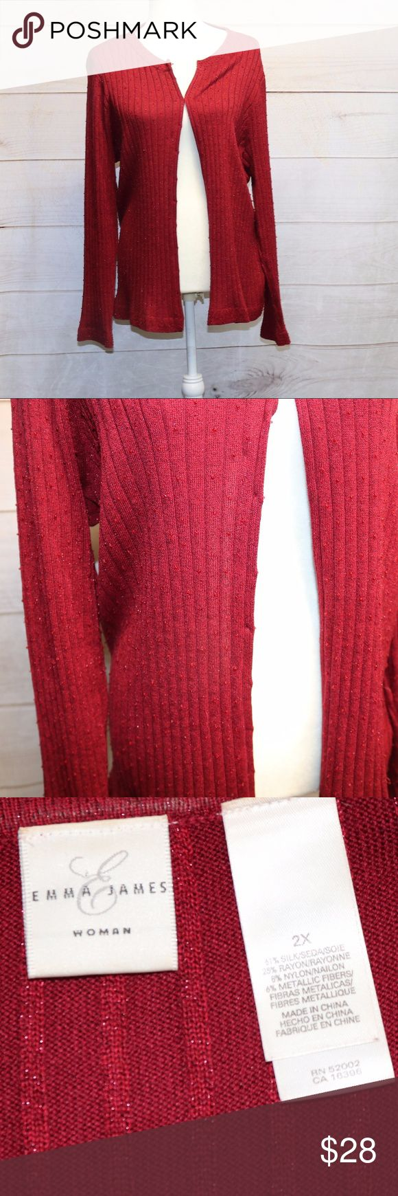 Emma James Cardigan size 2x EUC Emma James Cardigan Red Size: 2x Hook eye closure Has small beading detail on the front of the sweater Emma James Sweaters Cardigans