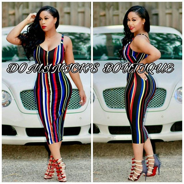 Multicolored summer dress women rainbow striped bandage dress v-neck sleeveless party bodycon Midi dress  *****THIS PRODUCT SHPS FROM CHINA****  Color Multicolored   Sizes S, M, L, XL  Occasion: club, party, casual, Prom, Homecoming, Holidays, Dinner, fashion, celeb Unique Sheath Bodycon Style, wedding reception High Quality Bandage, Lingerie, bathing suit cover up, skirt, dress, pants romper jumpsuit, trousers