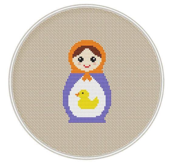 Russian Doll cross stitch pattern, Instant Download, Free shipping, Cross-Stitch PDF, Matryoshka, Nesting Doll, Duck, MCS048