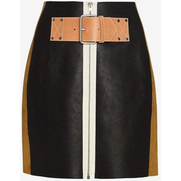 Alexander Wang Belt Detail Patchwork Skirt ($1,295) ❤ liked on Polyvore featuring skirts, black, black leather skirt, patchwork skirt, alexander wang skirt, belted skirt and black knee length skirt