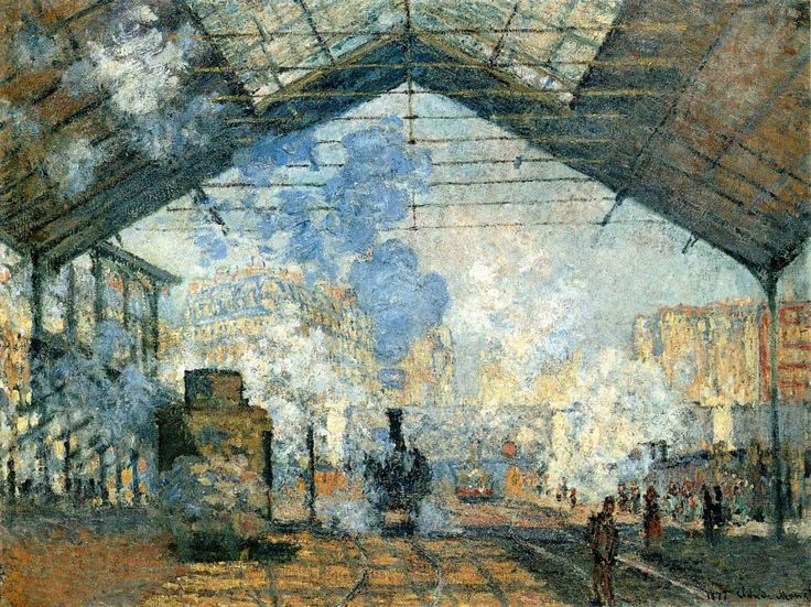 Claude Monet – Gare Saint Lazare (1877) oil on canvas   Paris, Musée d'Orsay   Plazy, History of Art in Pictures, p. 143