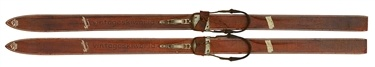These kids' skis were made by Hedlund Ski Mfg in Nokomis, Illinois. Now for sale at Vintage Ski World for $295.00, probably waaaaay more than the originals cost!