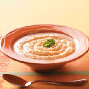 Chilled Melon Soup Recipe -Looking for something to put pizzazz in a summer luncheon? Try this pretty, refreshing soup with a kick of cayenne pepper to get the conversation going. —Mary Lou Timpson, Colorado City, Arizona