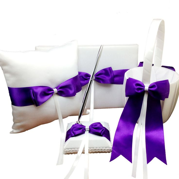 4Pcs/set Satin Purple Ribbon Bowknot Wedding Ring Pillow and Flower Basket Guest Book and Pen Set Wedding Ceremony Accessories
