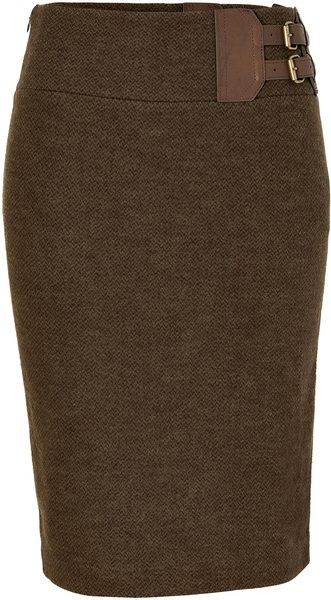 Polo Ralph Lauren Fraser Wool Tweed Jackson Pencil Skirt in Brown