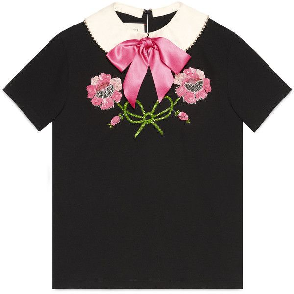 Gucci Embroidered Cotton T-Shirt ($1,300) ❤ liked on Polyvore featuring tops, t-shirts, black, floral tops, gucci tee, floral print tops, cotton t shirts and embroidery t shirts