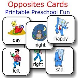 Printable Preschool and Kindergarten FREEBIE of the Day!  Opposites Cards set from PrintableKindergarten.com