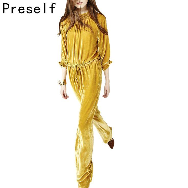 Preself sexy new phụ nữ nhung sang trọng thời trang chuông tay áo ruffle loose wide leg jumpsuit playsuit cộng với