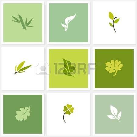 Vector foglia logo modelli di set di elementi di design photo