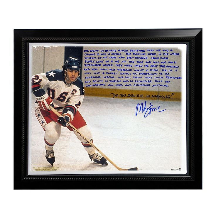 """Steiner Sports USA Hockey Mike Eruzione Miracle Facsimile 22"""" x 26"""" Framed Stretched Story Canvas, Multicolor"""